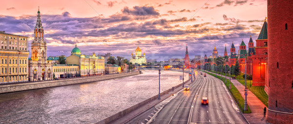 Moscow skyline at red evening light, Russian Federation Stock photo © Xantana