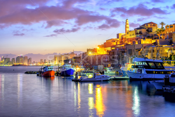 Yafo old town port on sunset, Tel Aviv, Israel Stock photo © Xantana