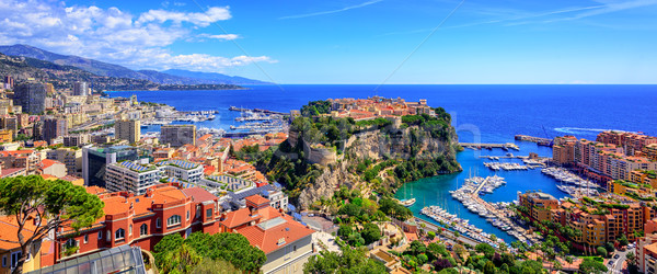 Skyline of Monaco with Prince Palace, old town and port Stock photo © Xantana