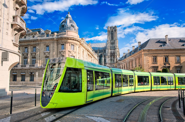 Modern tram on the streets of the old town of Reims, France Stock photo © Xantana