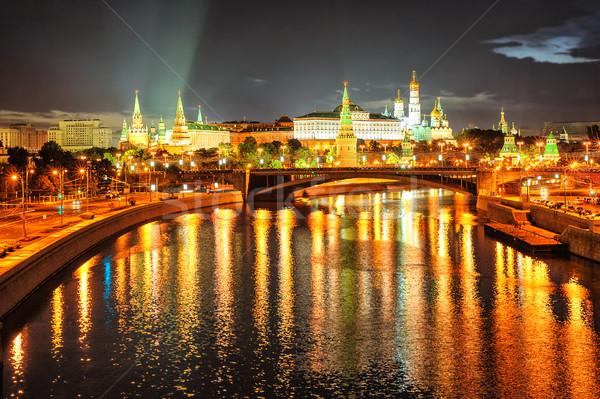 Moscú Kremlin noche Rusia río ruso Foto stock © Xantana