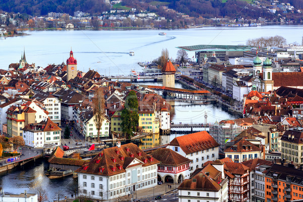 Old town of Lucerne with Chapel Bridge and Water tower, Switzerland Stock photo © Xantana