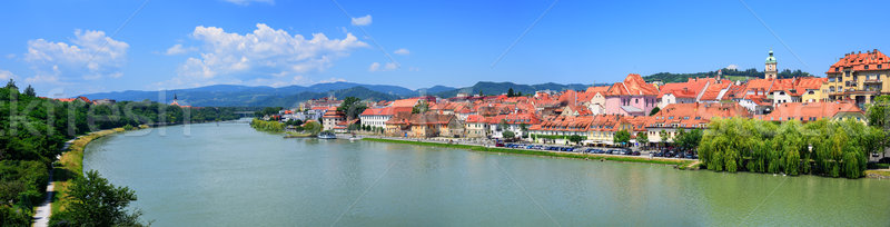 Panorama of the old town Maribor on Drava river, Slovenia Stock photo © Xantana