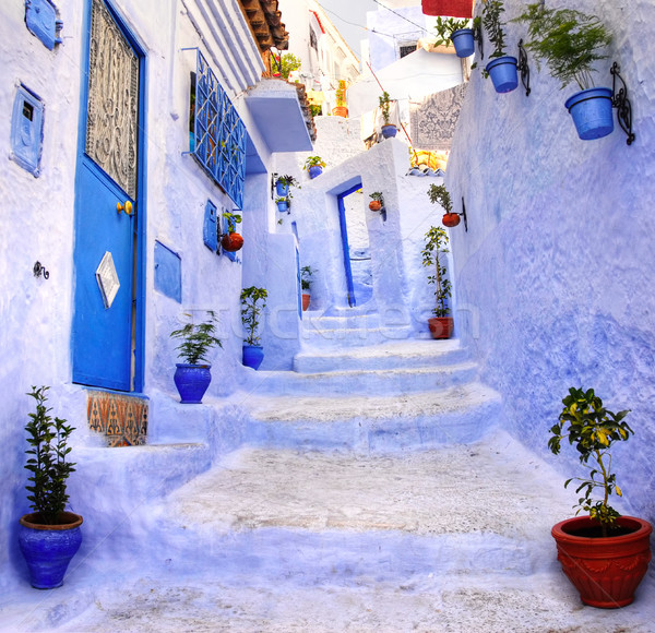 Street in the blue city Chefchaouen, Morocco Stock photo © Xantana