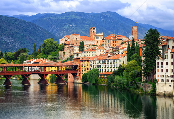 Bassano del Grappa, small medieval town in the Alps mountains, V Stock photo © Xantana