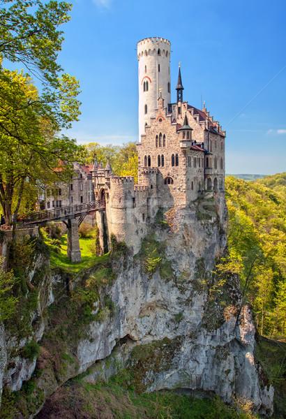 Romantic Lichtenstein Castle on the rock in Black Forest, German Stock photo © Xantana