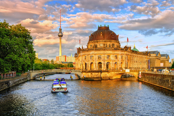 Bode museum on Spree river and Alexanderplatz TV, Berlin, Germany Stock photo © Xantana