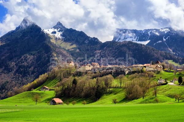 Gruyeres medieval town, Alps mountains, Switzerland Stock photo © Xantana