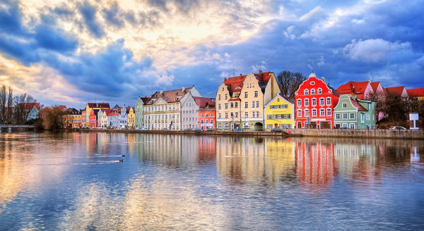 Gothic houses reflecting in a river on sunset, Germany Stock photo © Xantana