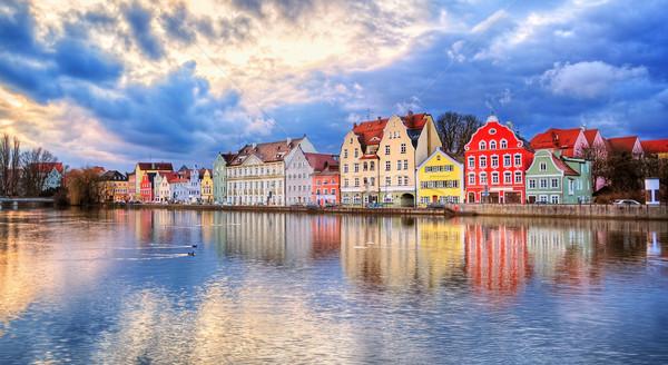 Gótico casas rio pôr do sol Alemanha colorido Foto stock © Xantana