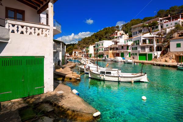 Falu Mallorca Spanyolország fehér hajók zöld Stock fotó © Xantana