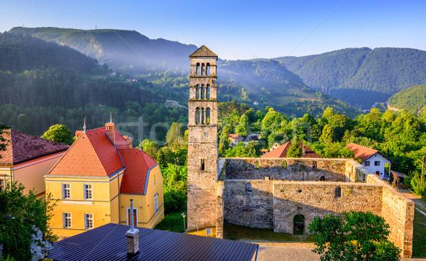 Kilise Bosna Hersek tarihsel çan kule Stok fotoğraf © Xantana