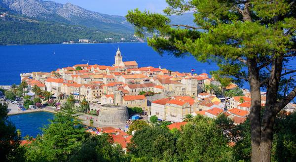 Barrio antiguo costa Croacia isla mar playa Foto stock © Xantana