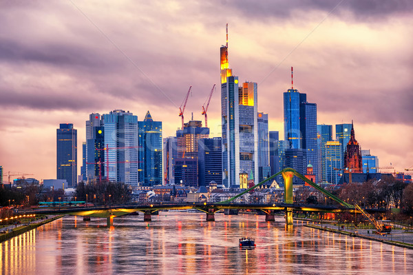 Skyline Francfort principale Allemagne coucher du soleil Europe Photo stock © Xantana