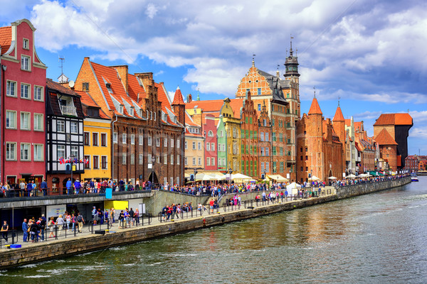 Gothic facades facing Motlawa River in Gdansk, Poland Stock photo © Xantana