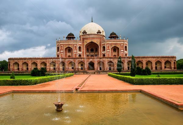 Sír Új-Delhi India nagyszerű császár mauzóleum Stock fotó © Xantana