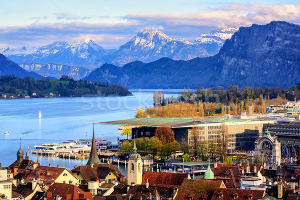 Lucerne town on Lake Lucerne and Alps mountains Stock photo © Xantana