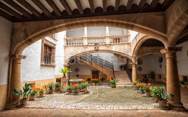 Picturesque mediterranean courtyard in Palma de Mallorca, Spain Stock photo © Xantana