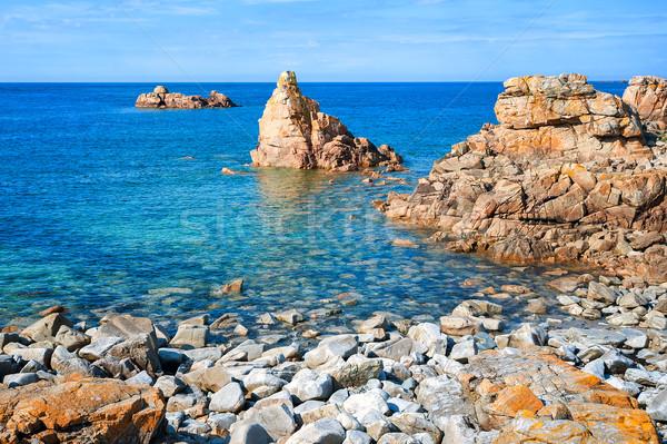 Rocky beach on Pink Granite Coast, Brittany, France Stock photo © Xantana