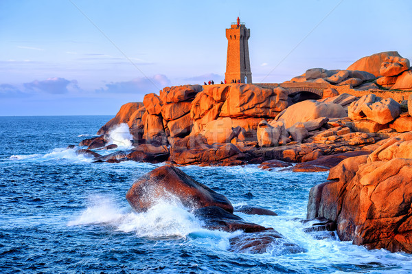 Lighthouse of Ploumanach on Cote de Granite Rose, Brittany, Fran Stock photo © Xantana