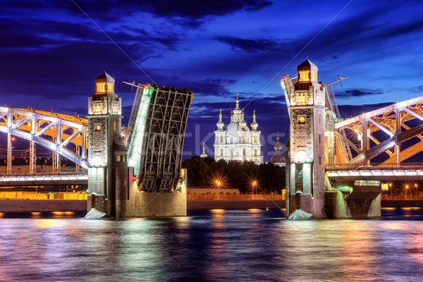 Foto stock: Puente · catedral · verano · blanco · noche
