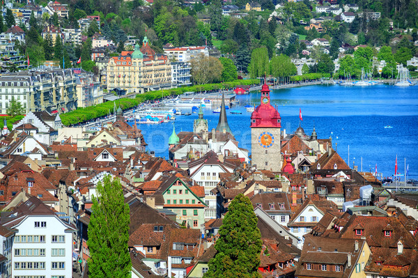 Lucerne, Switzerland, aerial view over old town to the lake Stock photo © Xantana