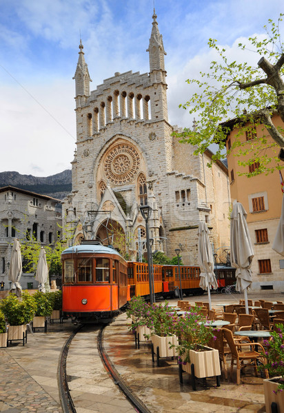 Old tram in front of the Cathedral of Soller, Mallorca, Spain Stock photo © Xantana