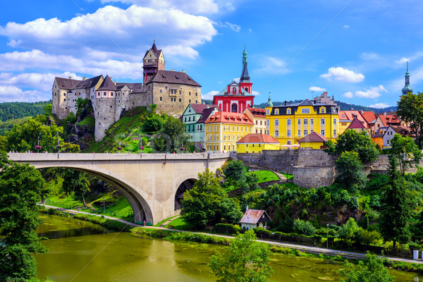 Town and Castle Loket near Karlovy Vary, Czech Republic Stock photo © Xantana