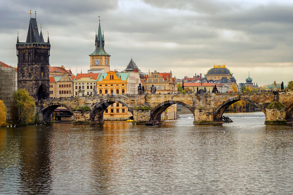 Charles Bridge and the old town of Prague, Czech Republic Stock photo © Xantana