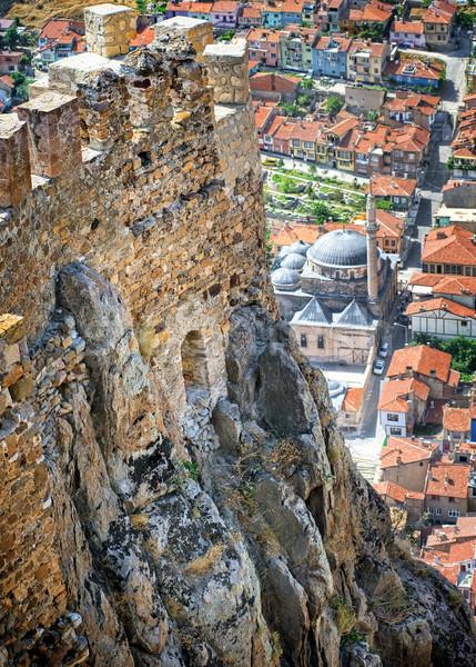 Karahisar castle walls on a hill over the old city of Afyon, Turkey Stock photo © Xantana