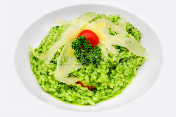 Pesto risotto pomodorini servito Foto d'archivio © Xantana