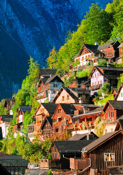 Traditional wooden houses on the mountain slope in Hallstatt, Austria Stock photo © Xantana
