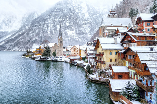 Hallstatt by Salzburg, Austria, traditional austrian wooden town Stock photo © Xantana