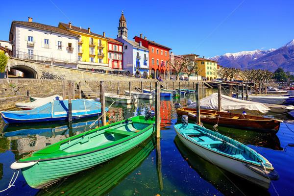 カラフル ボート 町 スイス 旧市街 湖 ストックフォト © Xantana