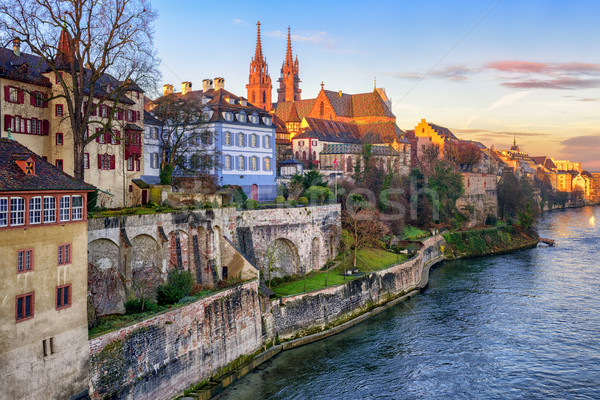 Old town of Basel with Munster cathedral, Switzerland Stock photo © Xantana