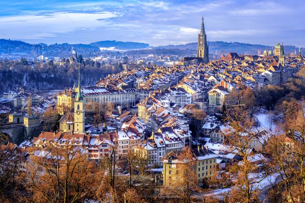 旧市街 冷たい 雪 冬 日 スイス ストックフォト © Xantana