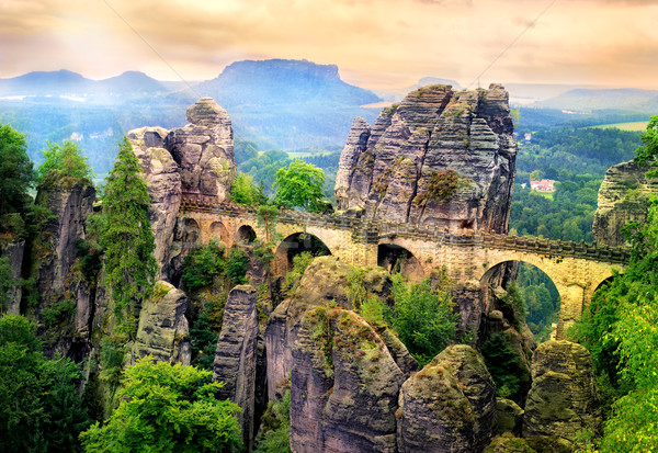 Bastei Bridge in Saxon Switzerland, Dresden, Germany Stock photo © Xantana