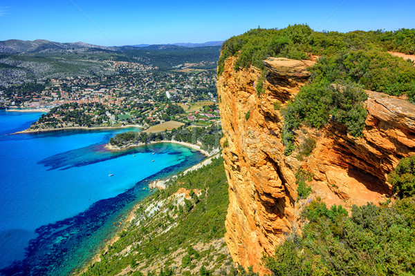 Cassis town and Cap Canaille rock, Provence, France Stock photo © Xantana