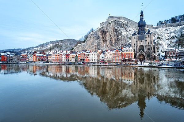 The citadel, Collegiate Church and Meuse, Dinant, Belgium Stock photo © Xantana
