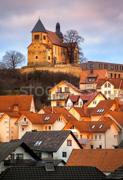 Oude gothic stad Frankfurt Duitsland kerk Stockfoto © Xantana