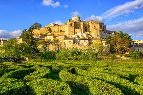 Labyrinth garden and castle Grignan, Drome, France Stock photo © Xantana