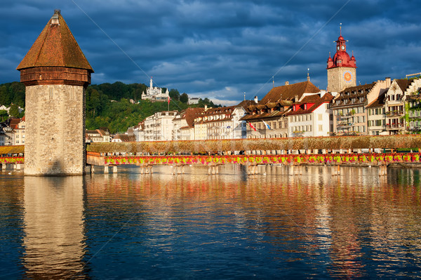 Lucerne, Switzerland, view over the old town with Chapel Bridge Stock photo © Xantana
