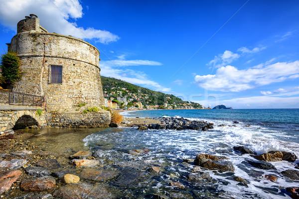 Historical Saracen tower in Alassio, resort town on Riviera, Italy Stock photo © Xantana