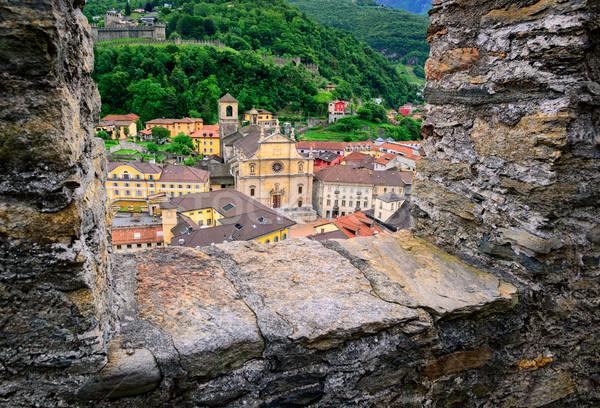 Швейцария мнение замок стен каменные вниз Сток-фото © Xantana