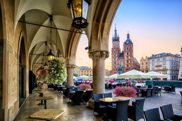 Cloth Hall archs on Main Market in the Old Town of Krakow, Poland Stock photo © Xantana