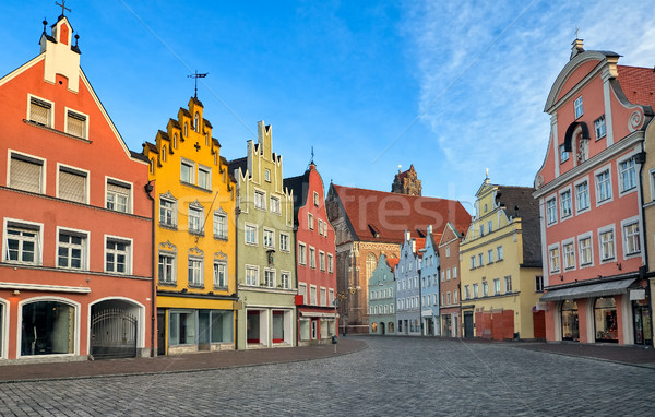 Picturesque medieval gothic houses in old bavarian town by Munic Stock photo © Xantana