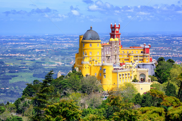 Panoramic view of Pena palace, Sintra, Portugal Stock photo © Xantana