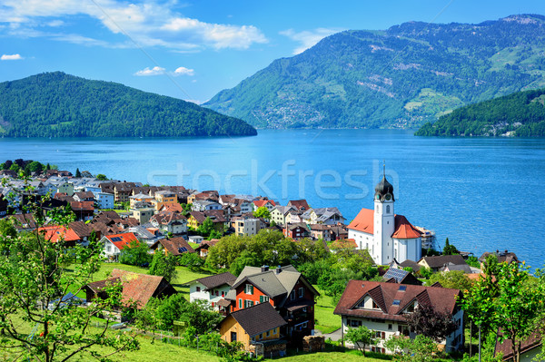 Stock photo: Lake Lucerne and the Alps mountains by Ruetli, Switzerland