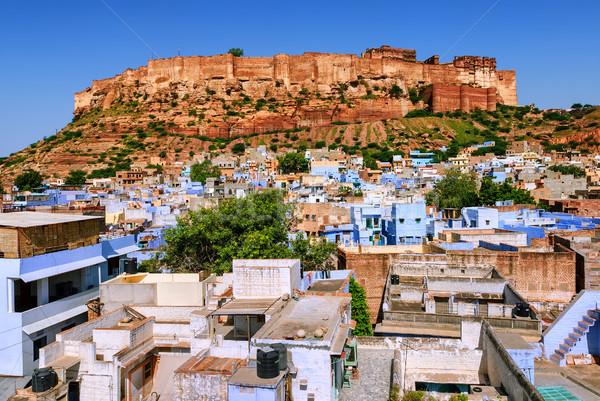Erőd kék város India ház épület Stock fotó © Xantana