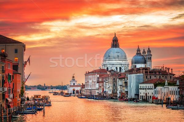 Kanal bazilika gündoğumu su Bina Stok fotoğraf © Xantana